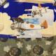【中古】 銃後柄のアンティーク長襦袢 メンズ レトロ ビンテージ リメイク素材 裄62cm 仕立て上がり 難あり!取扱注意! あす楽対応