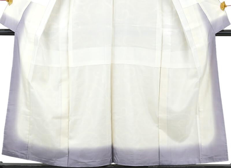 【中古】 忠右衛門 本場結城紬 リサイクル カジュアル 着物 正絹 レディース 袷 証紙 ホワイト 唐草 裄63cm 送料無料  あす楽対応