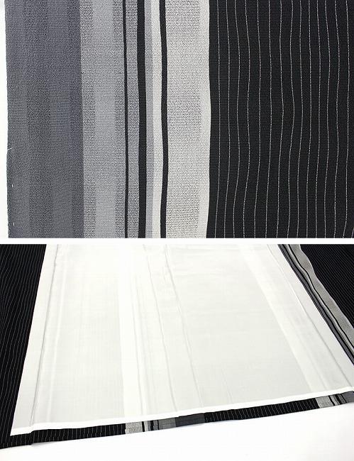 【中古】  【証紙付】 本塩沢紬 単衣 着物 証紙 袷 正絹 リサイクル 黒灰 ストライプ すっきり 粋 小さいサイズ リユース
