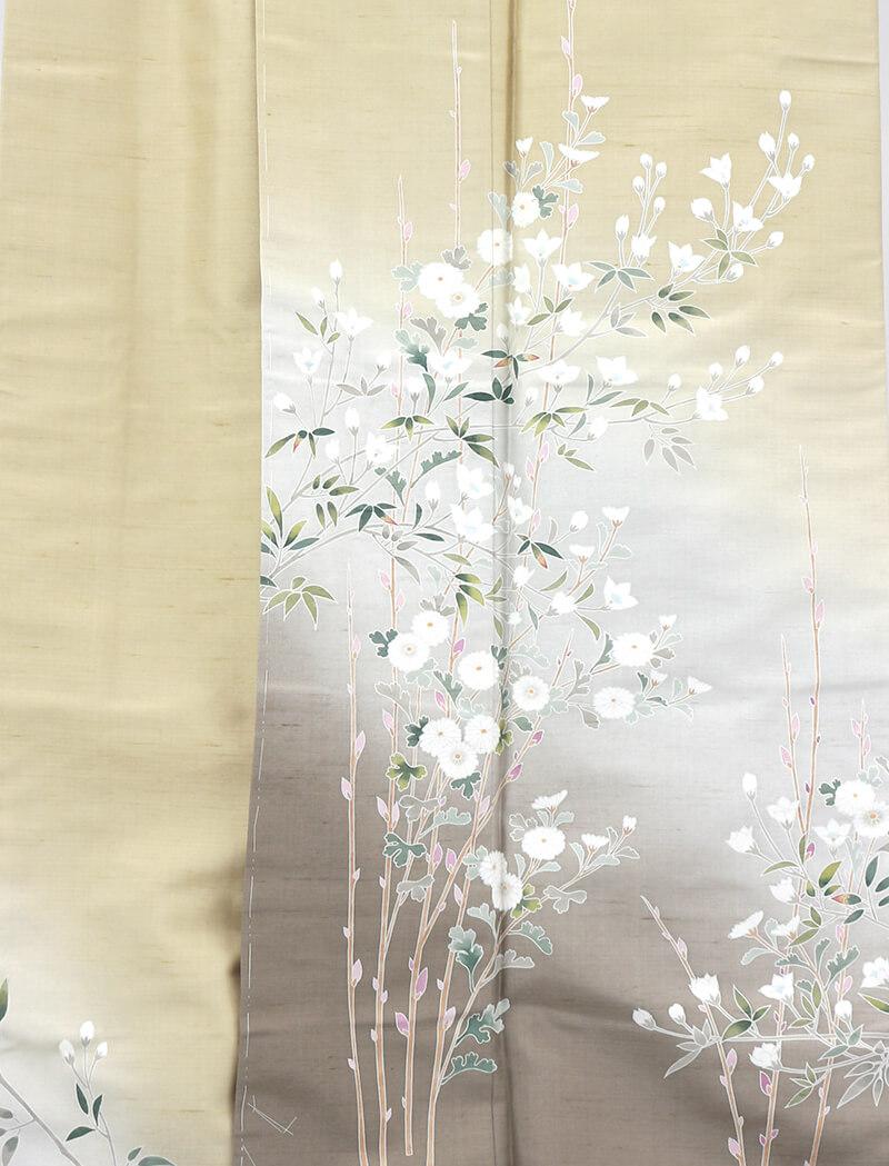 【中古】 忠右衛門 白山紬 訪問着 リサイクル カジュアル 着物 正絹 レディース 袷 証紙 グリーン 菊 大きいサイズ 裄67.5cm 送料無料  あす楽対応