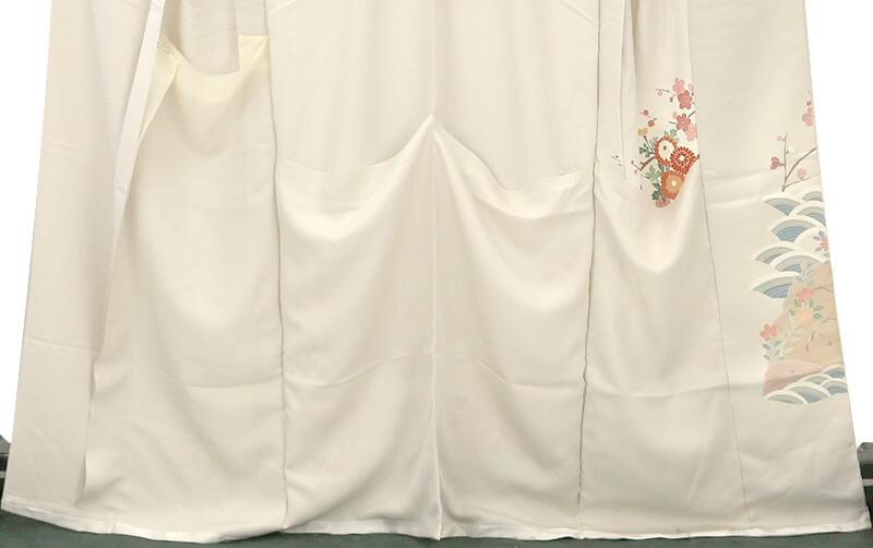 【中古】 忠右衛門 仮絵羽 リサイクル 正絹 リメイク 訪問着 グレー 菊 梅 鴛鴦 桔梗 落款 送料無料  あす楽対応