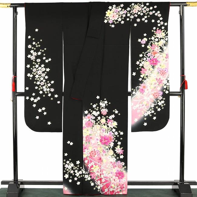 【振袖30%オフ】【中古】 振袖 レディース フォーマル 正絹 長襦袢セット リサイクル 裄64 黒 ピンク かわいい