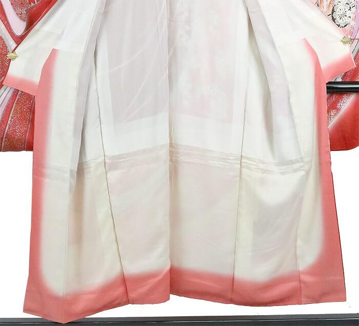 【振袖30%オフ】【中古】 振袖 レディース フォーマル 正絹 裄63 リサイクル 長襦袢セット 朱 赤 金彩加工