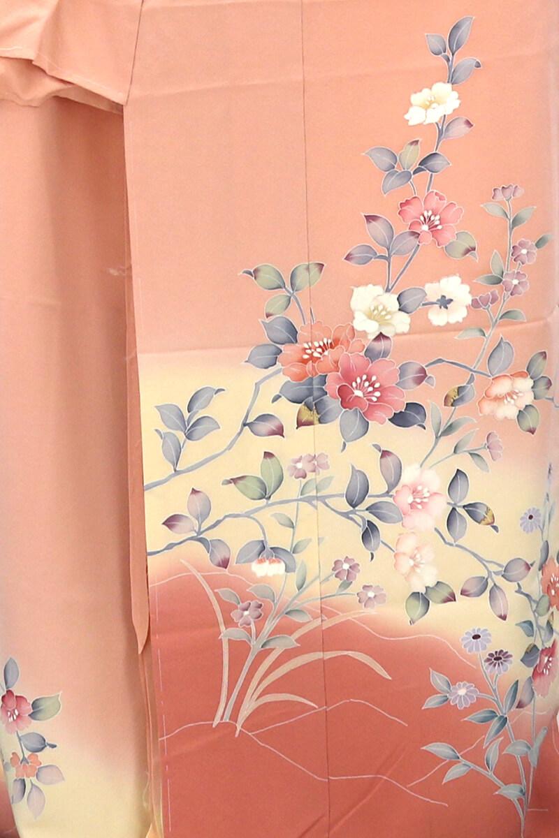 【中古】 忠右衛門 仮絵羽 リサイクル 正絹 リメイク 訪問着 オレンジ 落款 椿 菊 あす楽対応