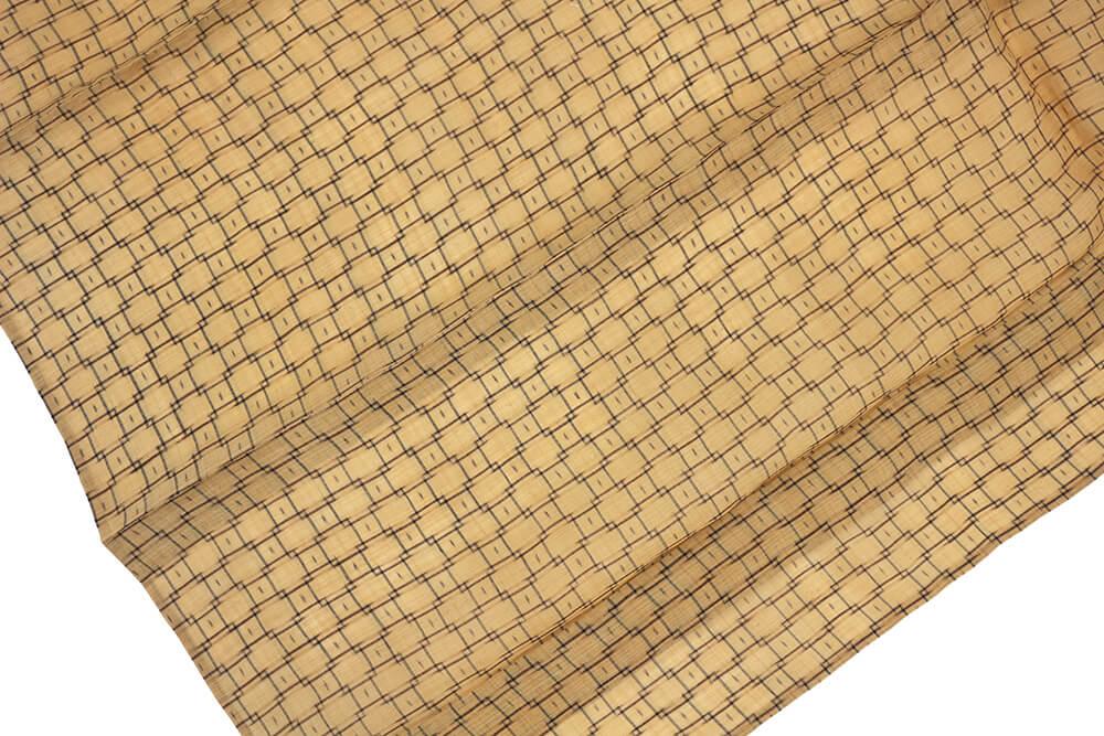 【中古】 忠右衛門 芭蕉布風 夏着物 レディース 夏 リサイクル ブラウン 四角繋ぎ 裄63 小さいサイズ 送料無料  あす楽対応
