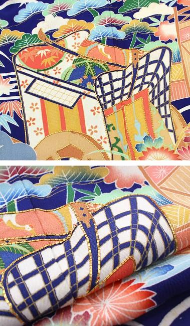 【振袖30%オフ】【中古】 振袖 レディース フォーマル 正絹 単品 裄63 リサイクル 紺 水色 刺繍 重ね衿付