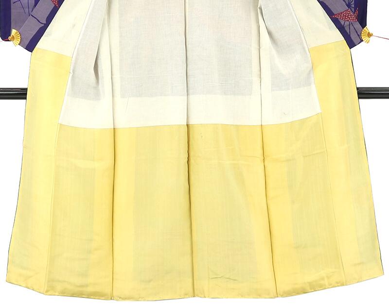 【中古】 竹柄の大胆な構図の銘仙 アンティーク 正絹 リサイクル レディース 袷 取扱注意 パープル 裄61cm リメイク・衣装向き あす楽対応