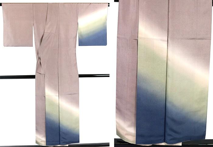 【中古】 付下げ 染め紬 中古 正絹 リサイクル 着物 袷 付け下げ 灰紫 緑 青 色ぼかし 送料無料 あす楽対応 中古着物 リサイクル着物 【t70】