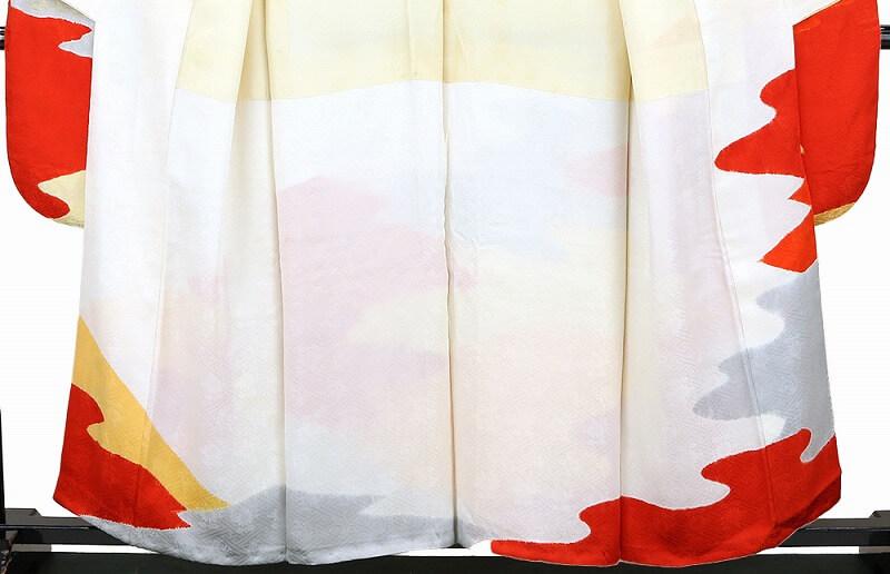 【中古】 振袖 リサイクル 着物 成人式 結婚式 卒業式 舞台 販売 レディース フォーマル 五つ紋 正絹 白 オレンジ 黄色 灰色 絞り 松皮菱 裄67cm 忠右衛門 送料無料  あす楽対応