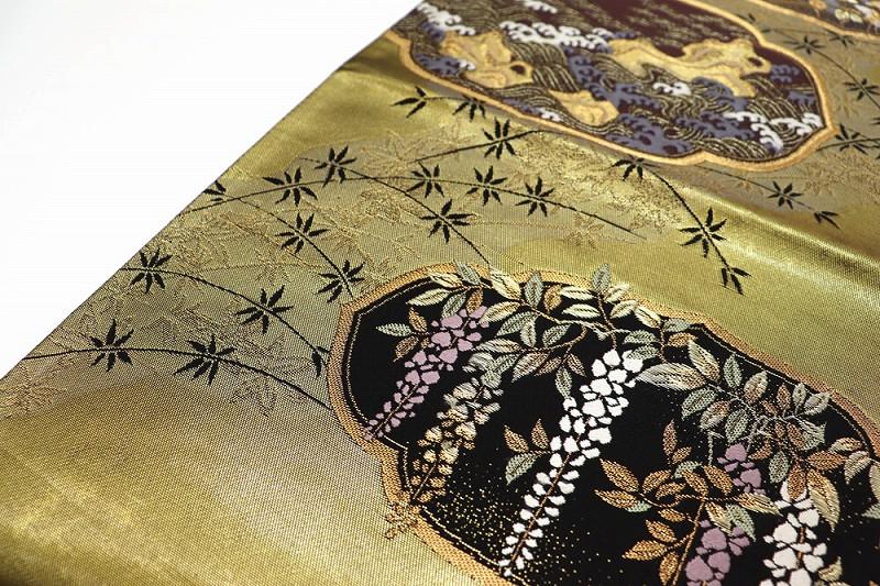 【感謝SALE 70%OFF】【中古】 袋帯 リサイクル 正絹 レディース 六通柄 フォーマル 礼装用 ゴールド 長さ441cm 幅31cm 【f70】