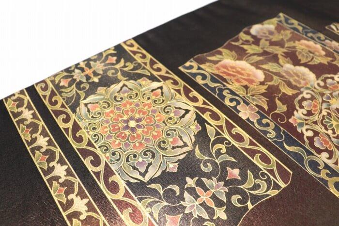 【n1】【中古】 袋帯 正絹 リサイクル お太鼓柄 黒 箔 螺鈿使い 長さ425cm 幅30.5cm