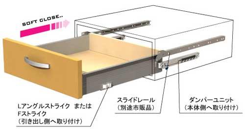 後付ソフトクローズダンパー 「ラルゴ・LARGO」 システム引出し用(4本〜)