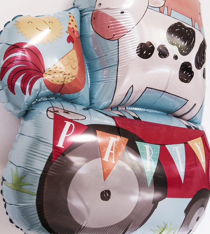 動物たちとブルー系プチバルーンのファーストバースデー【1才の誕生日のバルーン電報・男の子】
