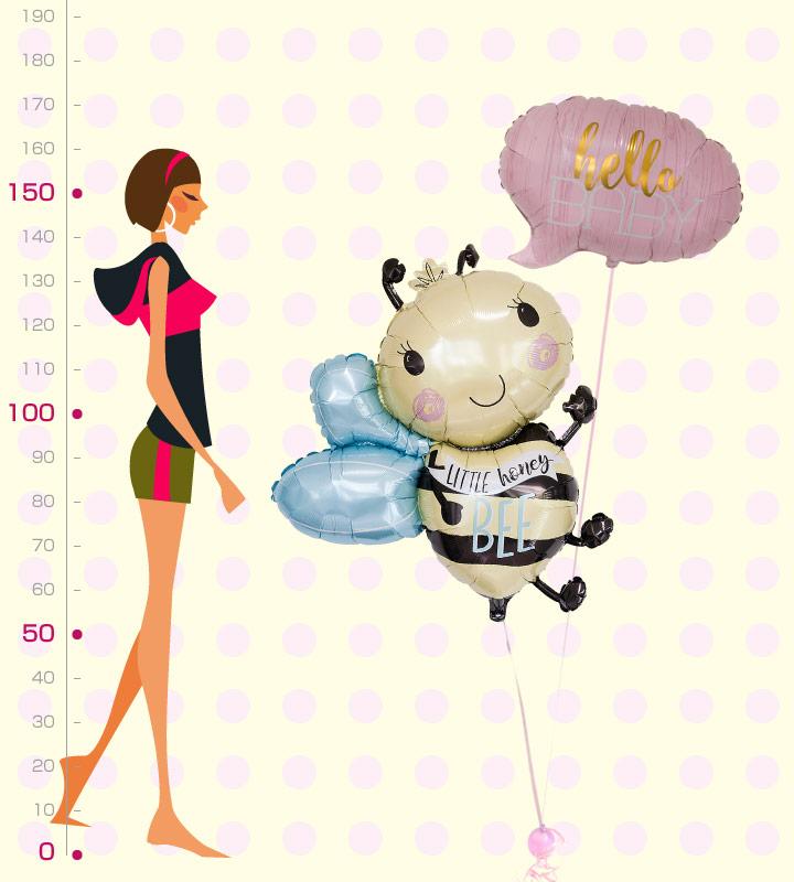 ハローベイビー(ピンク)とミツバチ【出産祝いのバルーン電報 女の子】
