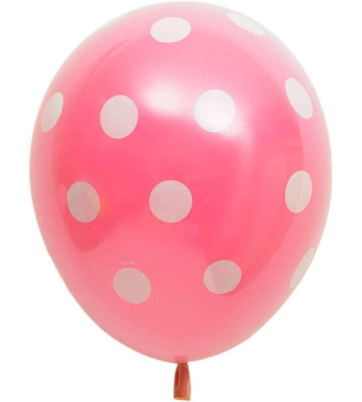 カップケーキとレッドハート、ピンクドットのファーストバースデー【1才の誕生日のバルーン電報・女の子】