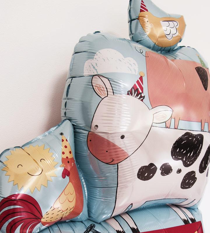 ハローベイビー(ブルー)と動物たち【出産祝いのバルーン電報 男の子】