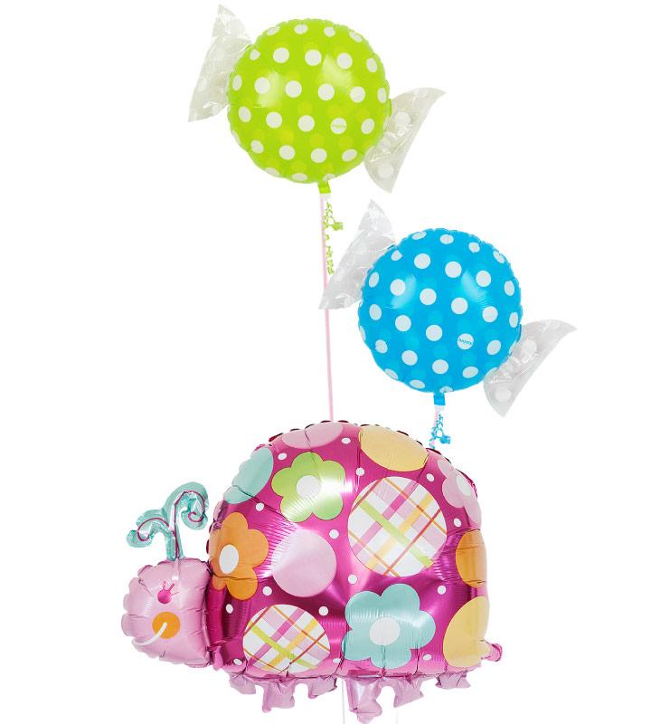 グリーンキャンディーとブルーキャンディー、レディバグ【お祝いやパーティーのバルーン電報・装飾】