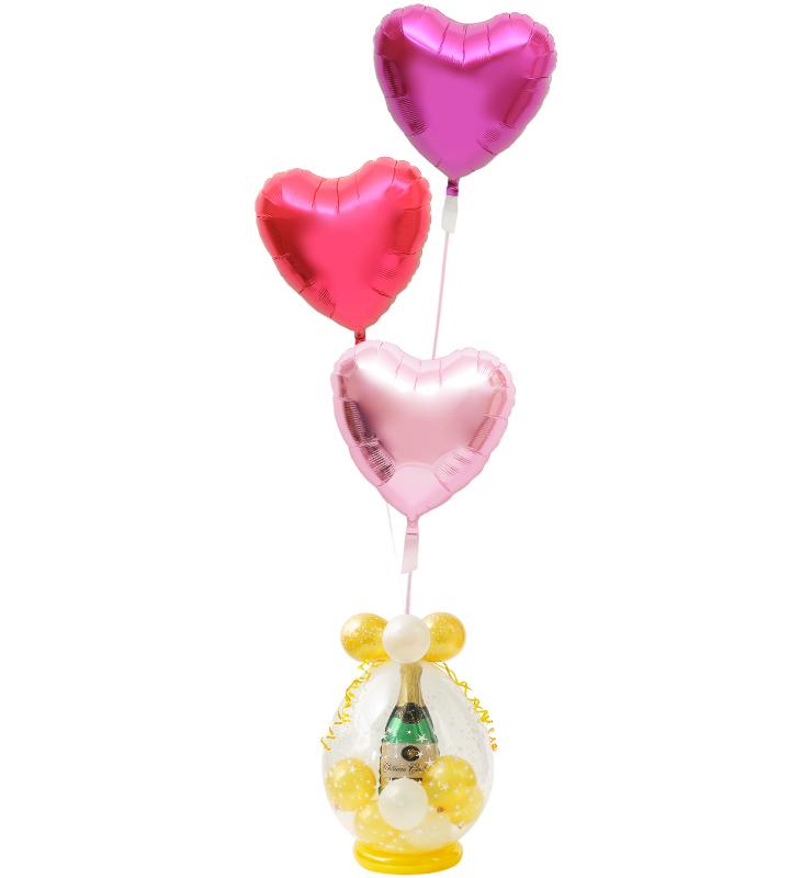 グラデーションの3連レッドハートのシャンパンバルーンでお祝い!ラッピングバルーン【お祝いやパーティーのバルーン電報・装飾】