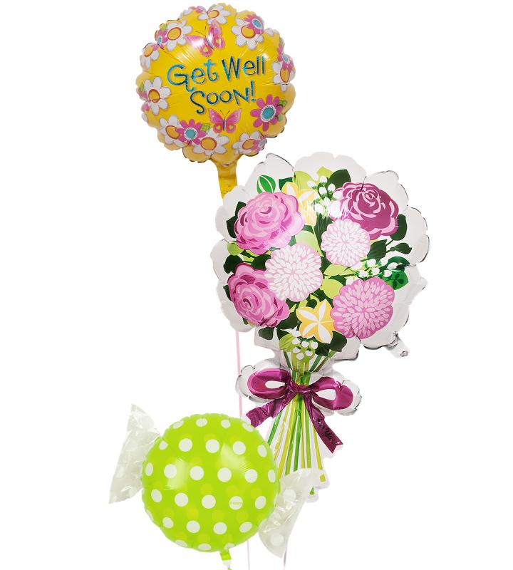 イエローフラワーと大きな花束、グリーンキャンディー【お見舞いのバルーン電報】