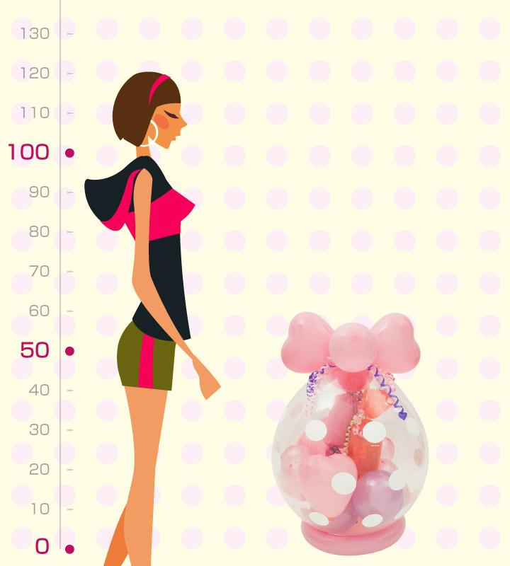ピンク系の出産祝いラッピングバルーン【出産祝いのバルーン電報】