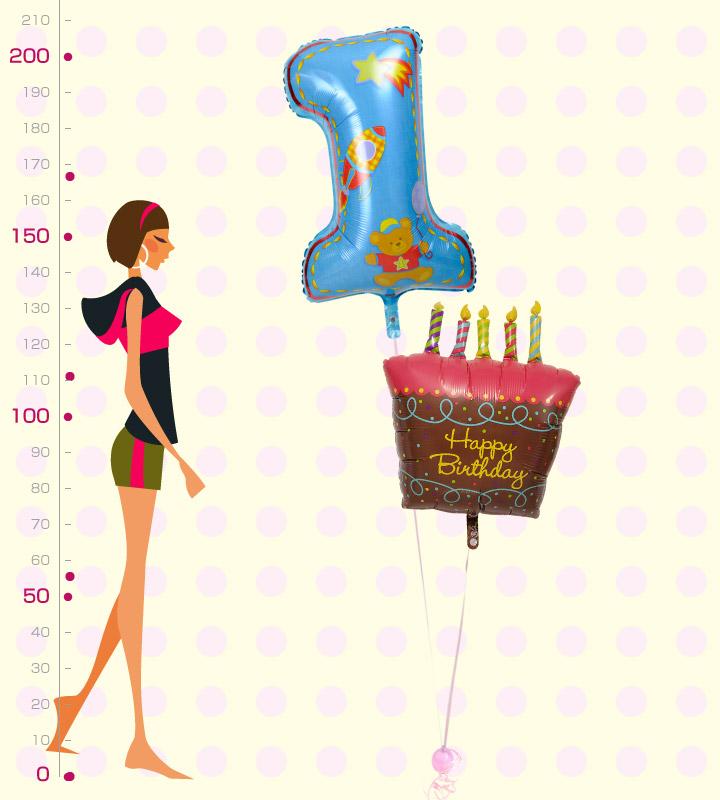 バースデーケーキと大きなファーストバースデー【1才の誕生日のバルーン電報・男の子】
