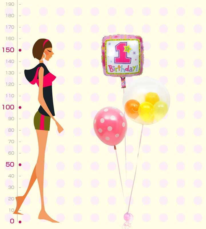 ぷちスマイルとピンクドットのファーストバースデー【1才の誕生日のバルーン電報・女の子】