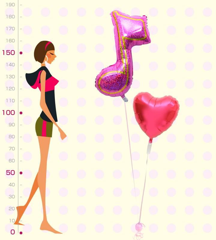 大きなピンクの8分音符とレッドハート【ピアノやバレエの発表会のバルーン電報】
