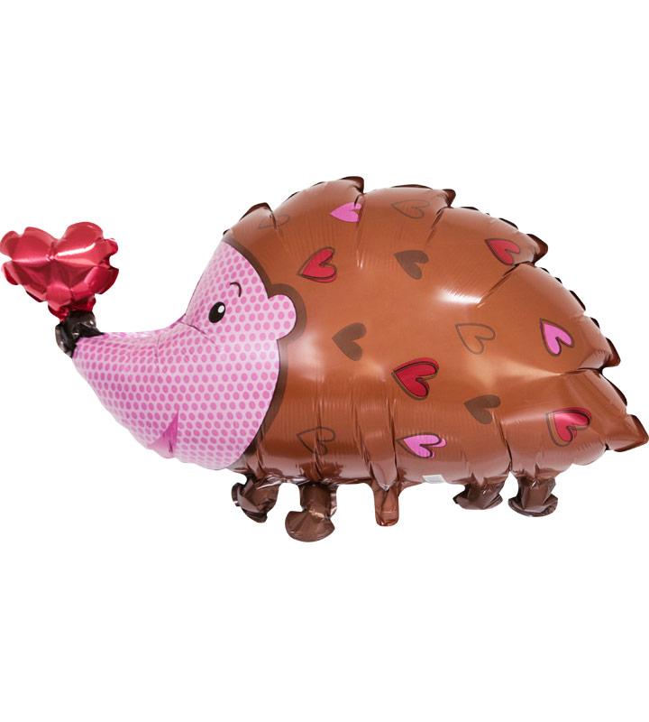 ハローベイビー(ピンク)とハートのハリネズミ【出産祝いのバルーン電報 女の子】