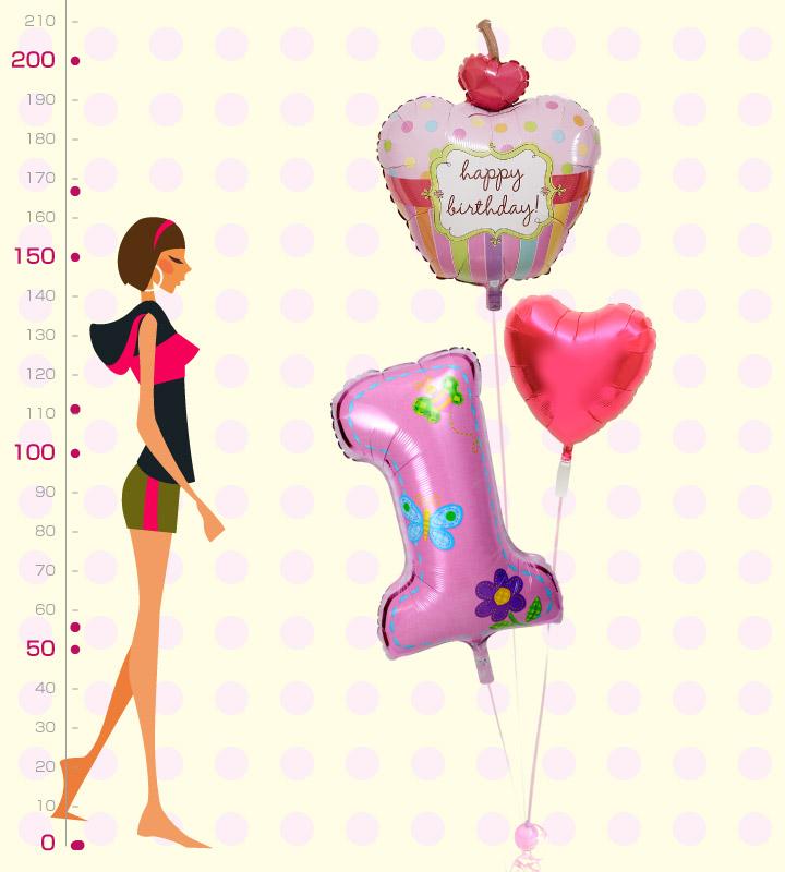 カップケーキとレッドハートと大きなファーストバースデー【1才の誕生日のバルーン電報・女の子】