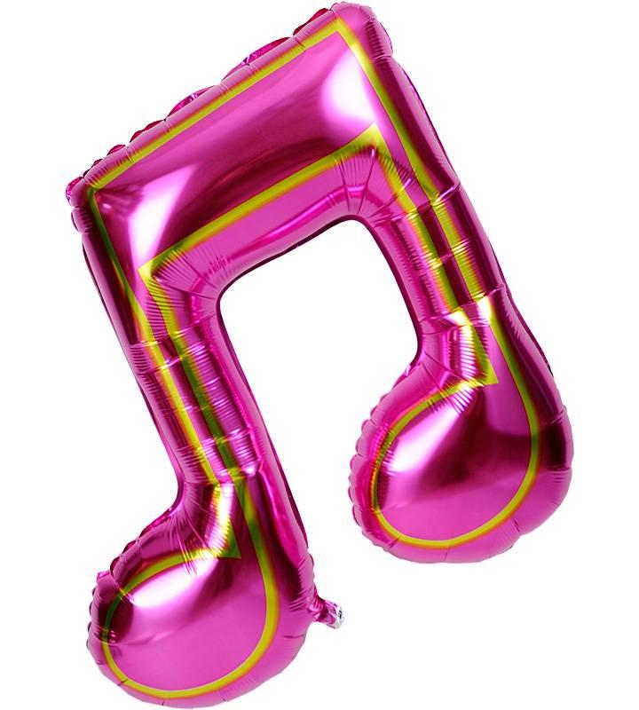 大きな音符ときらきらピンク&レッドハート【ピアノやバレエの発表会のバルーン電報】