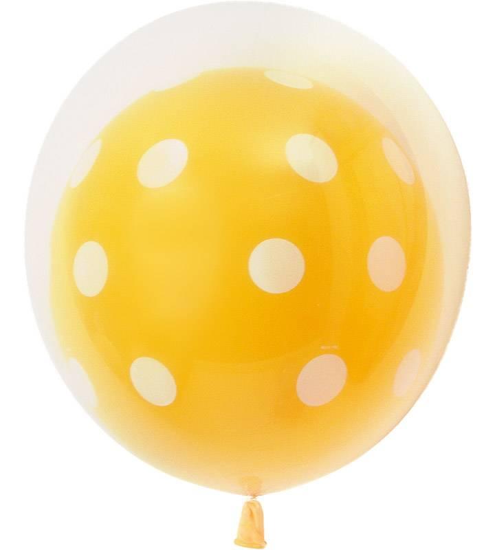 イエロードットとグリーンドットの6連ブーケ♪ どんなシーンでもOK♪お祝いブーケ【お祝いやパーティーのバルーン電報・装飾】
