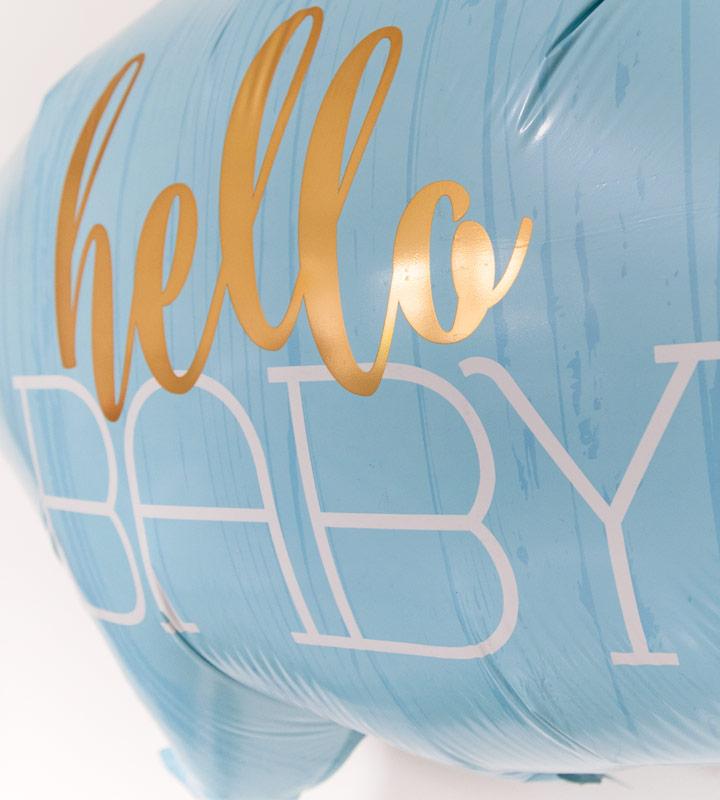 ハローベイビー(ブルー)とにこにこフラワー【出産祝いのバルーン電報 男の子】
