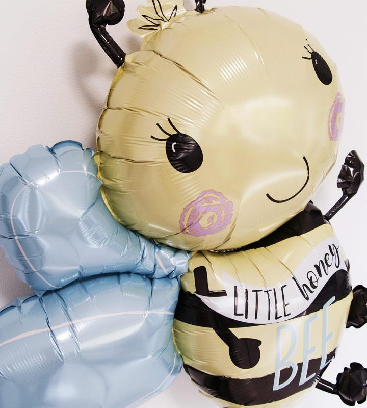ハローベイビー(ピンク)とミツバチ、レッドキャンディー、オレンジキャンディー【出産祝いのバルーン電報 女の子】