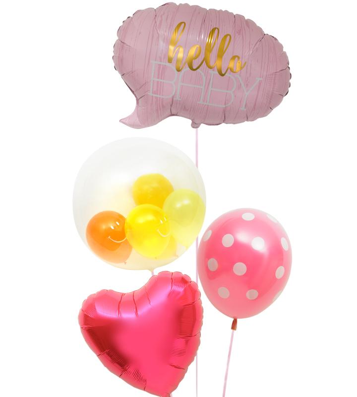ハローベイビー(ピンク)とプチスマイルとピンクドットピンクハート【出産祝いのバルーン電報 女の子】