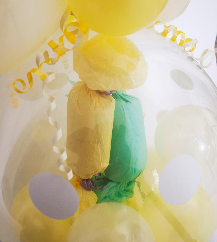 イエロー系の出産祝いラッピングバルーン【出産祝いのバルーン電報】