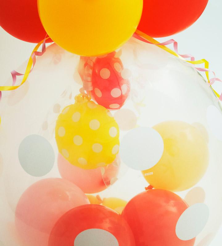 ピンクキャンディーとイエローキャンディーのラッピングバルーン【お祝いやパーティーのバルーン電報・装飾】