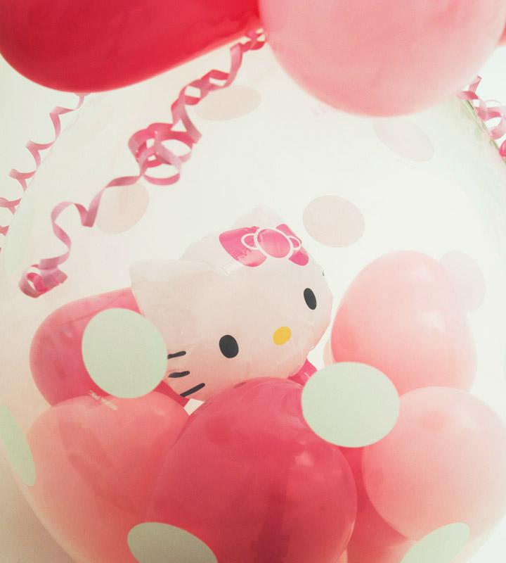 キティちゃんのラッピングバルーン【お祝いやパーティーのバルーン電報・装飾】