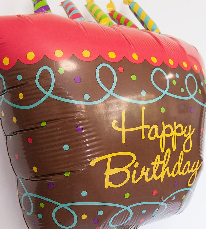 大きなバースデーケーキと60才バルーン、スマイルフラワー【還暦祝いのバルーン電報】