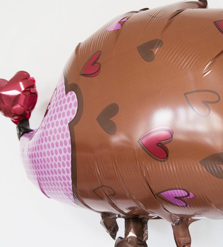 カップケーキとハートのハリネズミ、レッドハート【誕生日のバルーン電報】