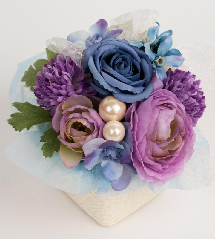 ブルー系アレンジメントのラッピングバルーン【お祝いやパーティーのバルーン電報・装飾】