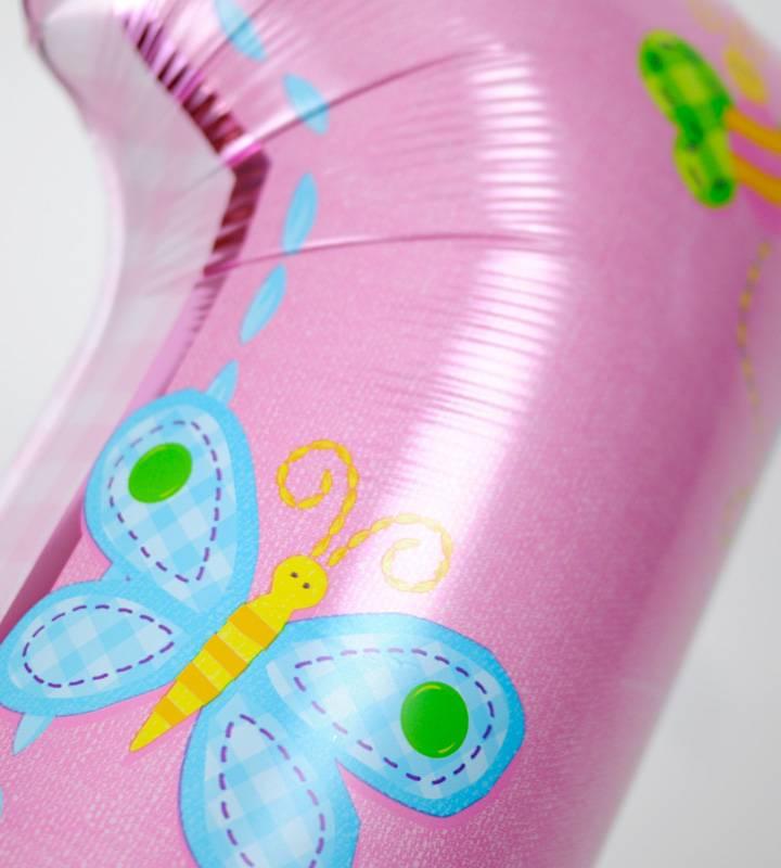 ほんわかドットと大きなファーストバースデー【1才の誕生日のバルーン電報・女の子】