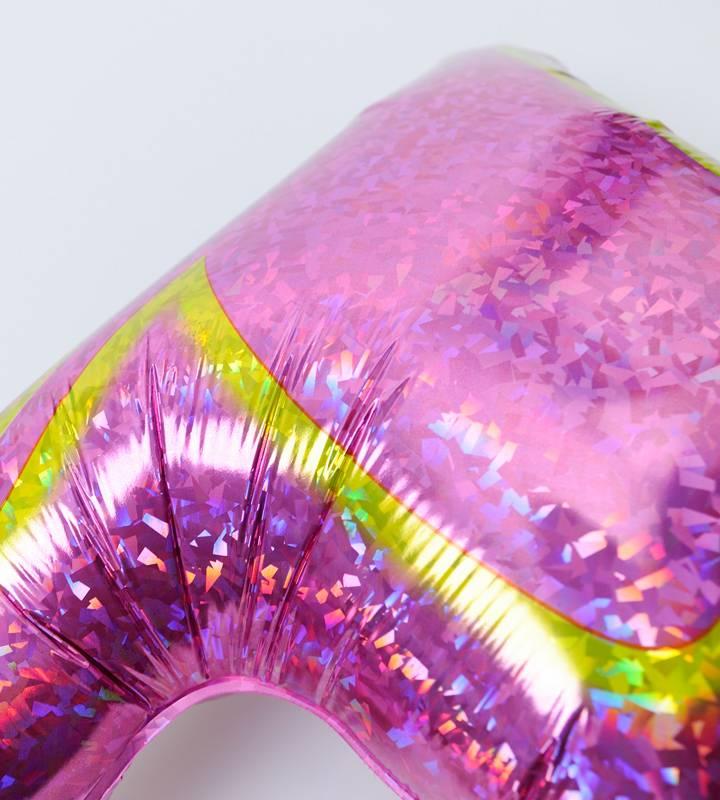 大きなピンクの8分音符とグリーンスター、ライトブルースター【ピアノやバレエの発表会のバルーン電報】