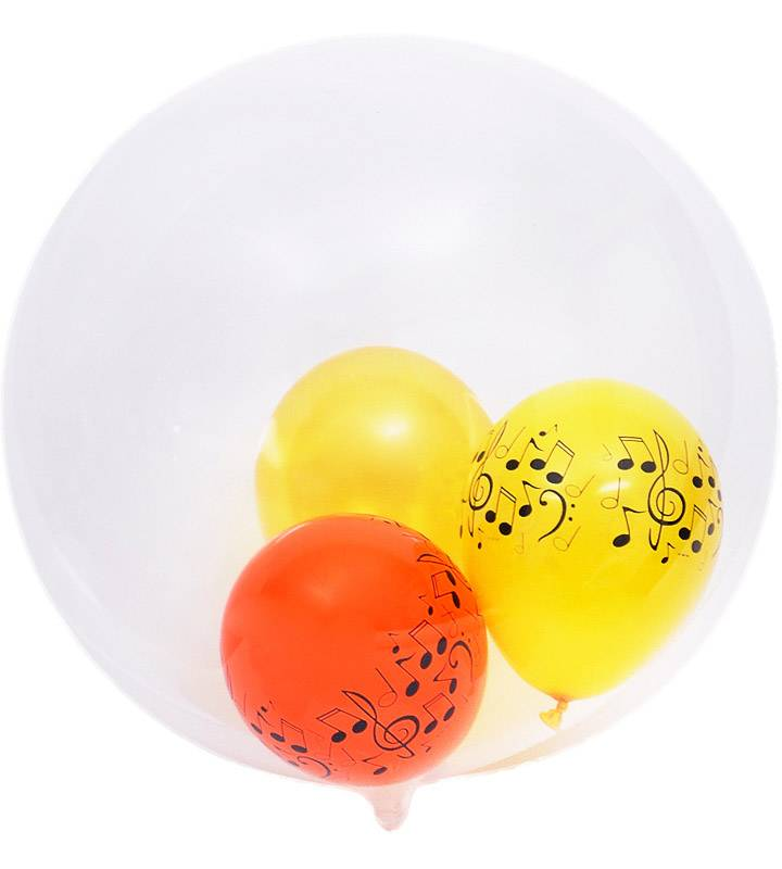 大きなピンクの8分音符とオレンジ&イエローのミニ音符バルーン、ゴールドスター【ピアノやバレエの発表会のバルーン電報】