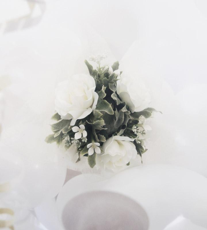 ホワイト系ミニアレンジメントのラッピングバルーン【お祝いやパーティーのバルーン電報・装飾】