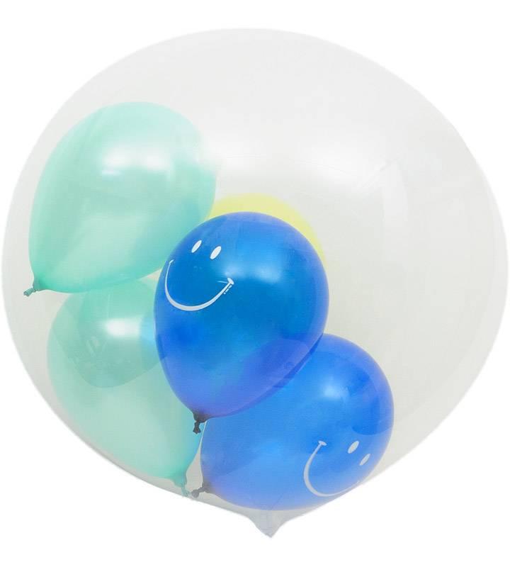 ぷちスマイルとブルースターと大きなファーストバースデー【1才の誕生日のバルーン電報・男の子】
