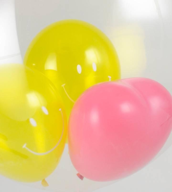 大きな音符とぷちハート&スマイル、2連きらきらシルバーハート【ピアノやバレエの発表会のバルーン電報】