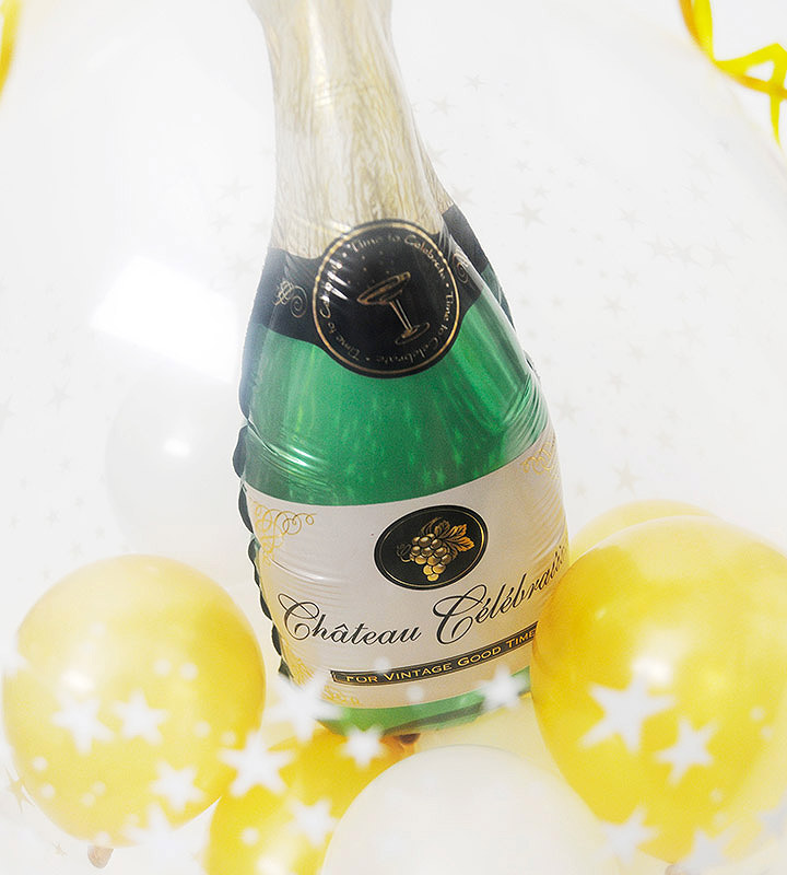 ゴールド&ブラックの3連バルーンとシャンパンバルーンでお祝い!ラッピングバルーン【お祝いやパーティーのバルーン電報・装飾】