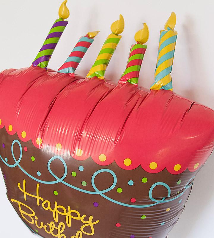 バースデーケーキと大きなファーストバースデー【1才の誕生日のバルーン電報・女の子】