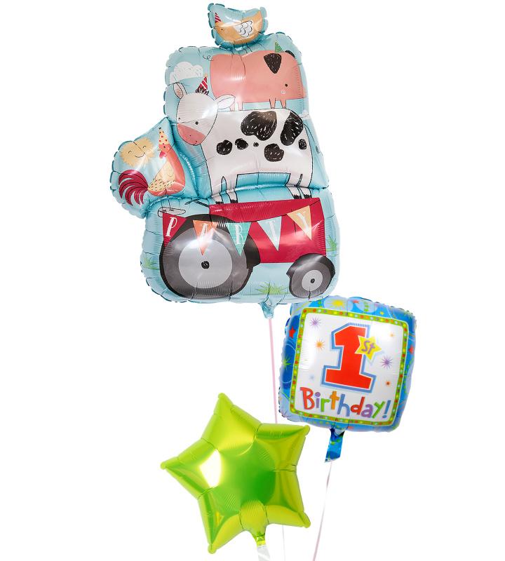 動物たちとライムグリーンスターのファーストバースデー【1才の誕生日のバルーン電報・男の子】