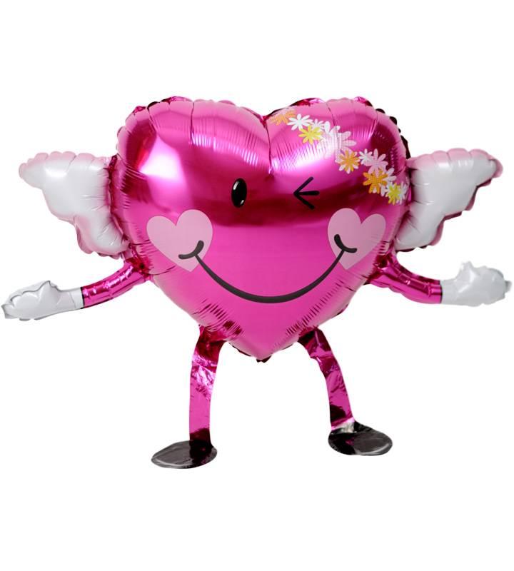 エンジェルちゃんが持つ、バレリーナチュチュとピンクドット、ラベンダースター、ピンクハート【ピアノやバレエの発表会のバルーン電報】
